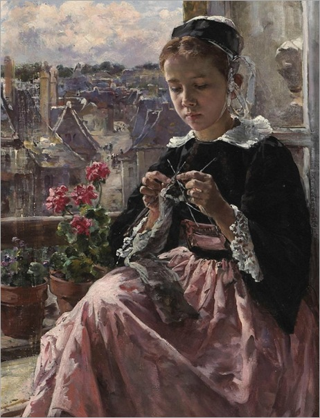 A young Breton girl knitting by a window - Marie Aimée Lucas-Robiquet