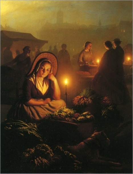 A Young Girl Selling Vegetables at the Night Market-by-Petrus-Van-Schendel