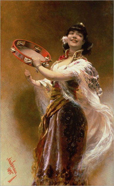 alois-hans-schram--gypsy-girl-with-a-tambourine