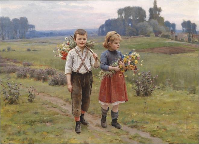 CESAR PATTEIN (Steenvoorde 1850–1931 Hazenbrouck) Children Returning Home_800x580