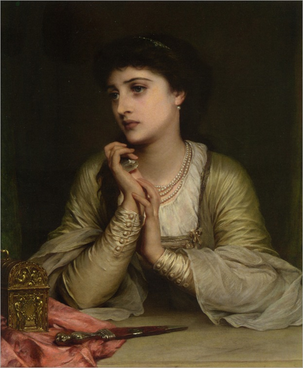 Distant Thoughts (1886) by Thomas Francis Dicksee (1819-1895)