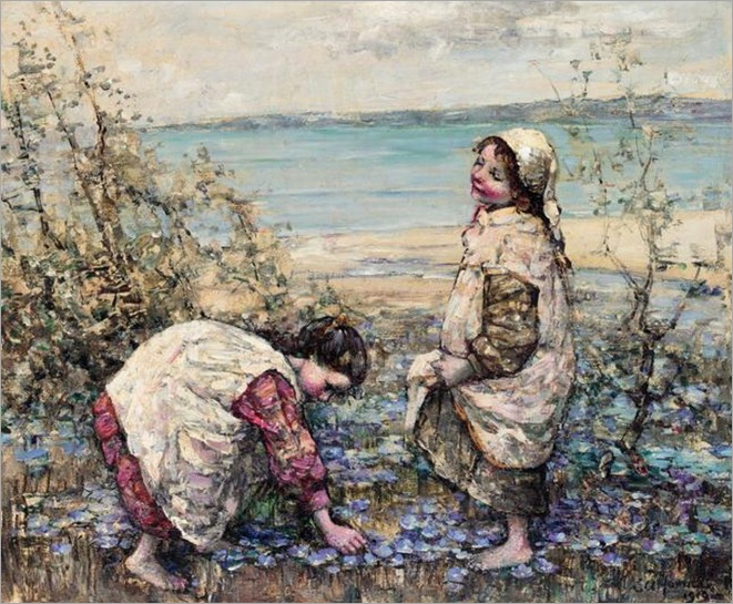 Edward-Atkinson-Hornel_COLLECTING_VIOLETS_AT_BRIGHOUSE_BAY