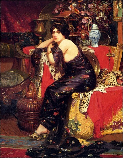 FredericLouisLeve_a_harem_beauty_seated_on_a_leopard_skin
