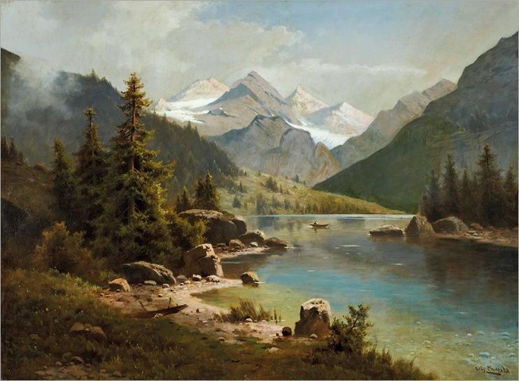 FRITZ CHWALA ( 1872-1936) -Alpensee mit Fischerboot
