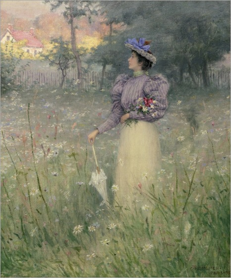 Gathering wildflowers, 1885-Charles-Heberer-american, 1868-1951_600x723