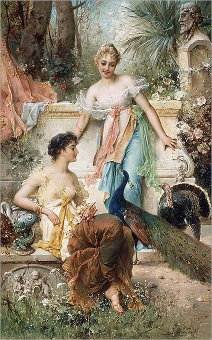 Hans Zatzka (1859-1945)-Ladies in a Garden