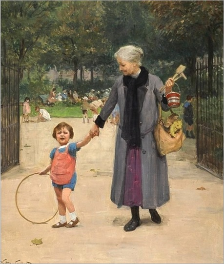 in-the-park-with-grandmother-by-Victor-Gabriel-Gilbert