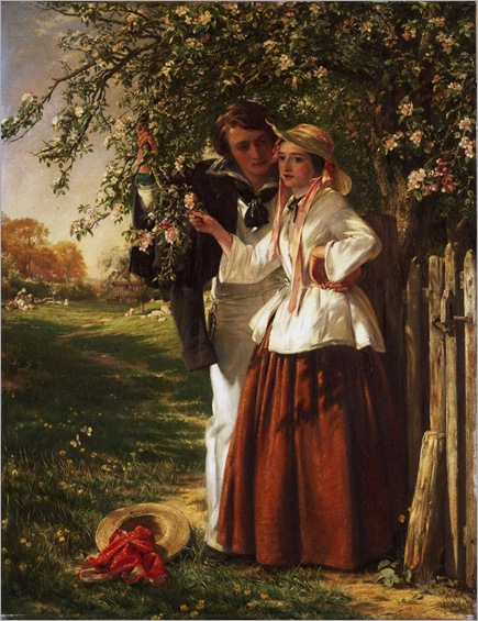 John Calcott Horsley-english 1817-1903_lovers under a blossom tree