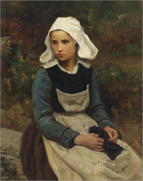jules-adolphe-breton-Young Brittany girl knitting