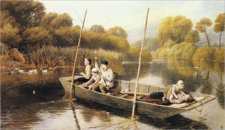 Myles Birket Foster - Boys Fishing From a Punt