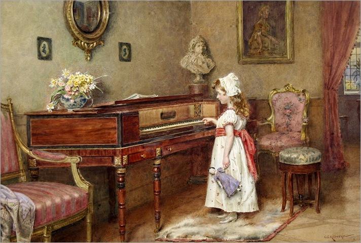 piano practice-George Goodwin Kilburne
