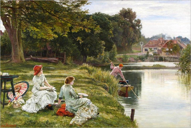 Tea by the river near The Swan at Pangbourne_by_Francis Sidney Muschamp -1851-1929
