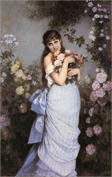 Toulmouche-Auguste-A-Young-Woman-In-A-Rose-Garden