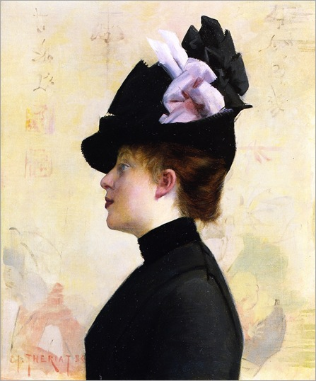 woman-in-a-black-hat-Charles James Theriat - 1886