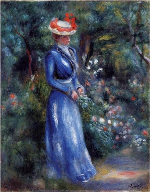 woman-in-a-blue-dress-standing-in-the-garden-of-saint-cloud-1899-Renoir