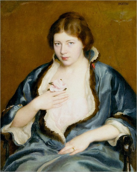 Woman in a blue wrap-William McGregor Paxton