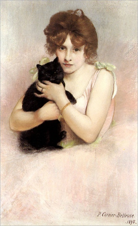 Young Ballerina Holding A Black Cat- Pierre Carrier-Belleuse- 1895