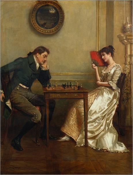 a-game-of-chess-George-G-Kilburne