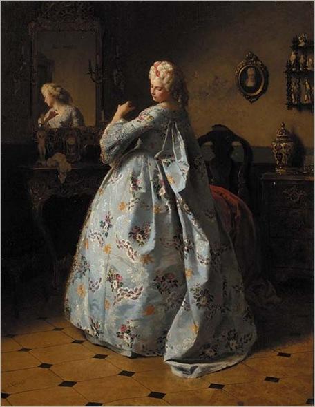Admiring her attire by Friedrich Kraus (1826-1894)