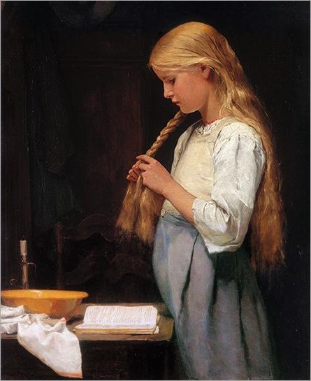 Albert Anker-Girl Braiding Her Hair (and reading) 1887