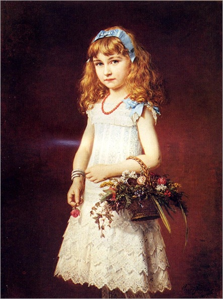 ConradFreyberg_a_young_girl_with_a_basket_of_flowers