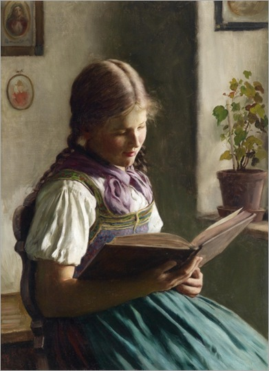 Emil Rau (Dresden 1858–1937) Girl Reading_579x800