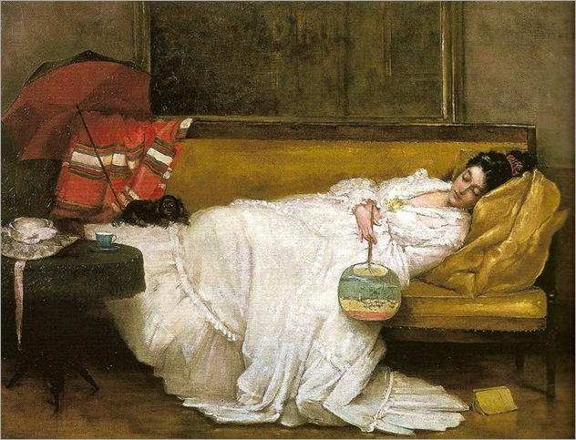 Girl in a white dress resting on a sofa-by Alfred Stevens