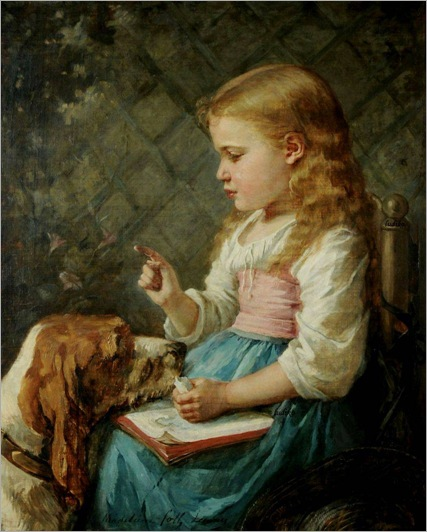girl-with-dog-by-Madeleine-Jeanne-Lemaire