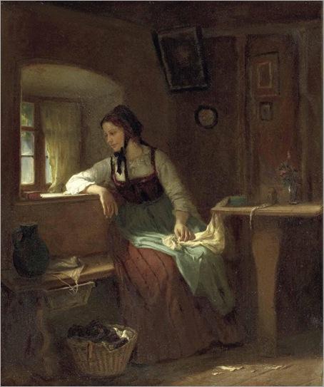 LUDWIG VOLLMAR-unge Bäuerin am Stubenfenster