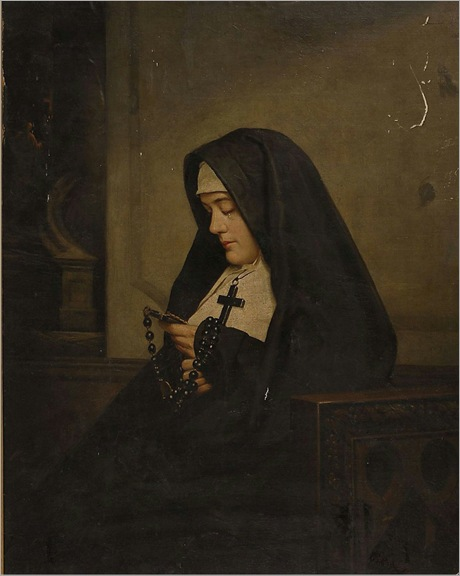 Portrait of a nun with a rosary-PAUL_E_HARNEY (1850-1915)