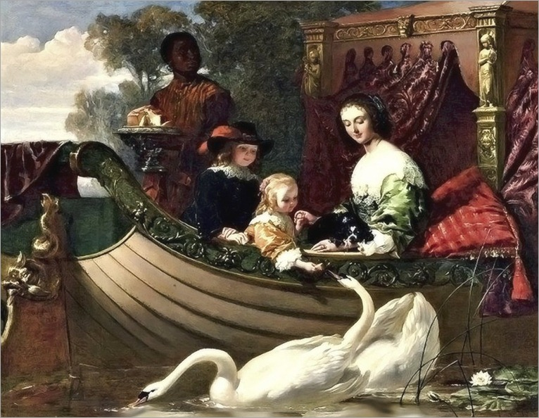 Queen Henrietta Maria of England and Her Children on the River_by_ Frederick Goodall