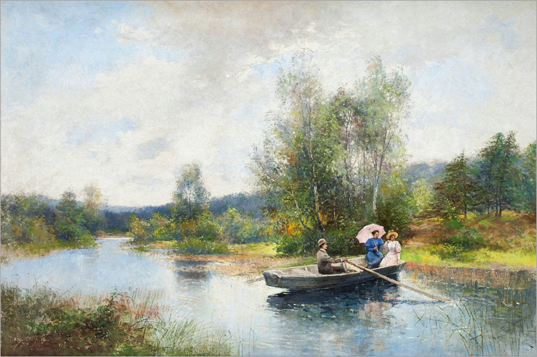 Rowing in a Summer Landscape - Severin Nilsson-1890