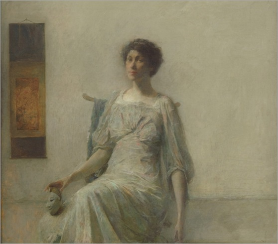 Thomas Wilmer Dewing-lady with a mask-1911