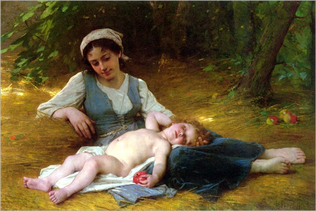 young-mother-and-child-asleep-Leon-Bazile-Perrault