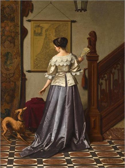 Antoon François Heijlingers (1827-1896) - An elegant lady and her whippet