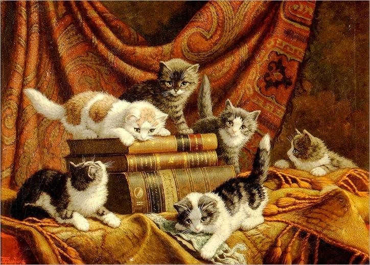 Cornelis Raaphorst(1875-1954)-chatons-jouant-avec-des-livres