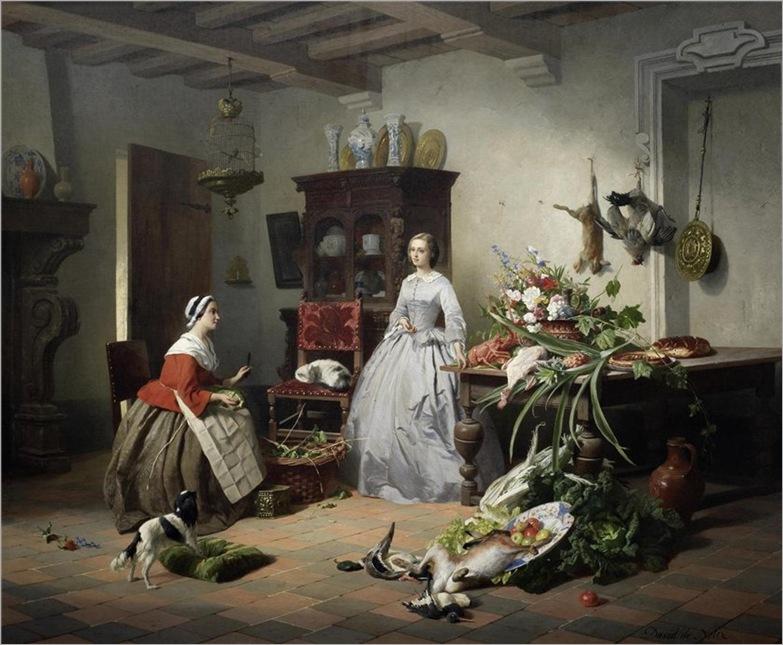 David Emile Joseph de Noter (Belgian, 1825-1892)- Preparing the banquet