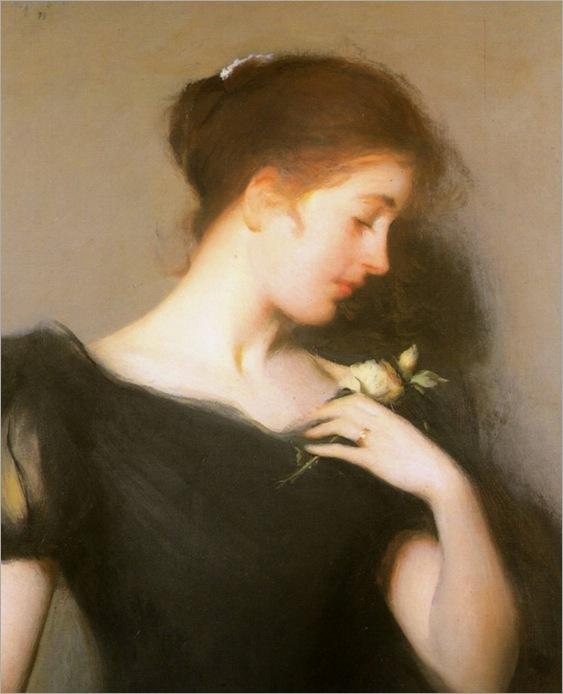 Frank W. Benson_(american 1862-1951)-woman holding a flower, 1899_600x740