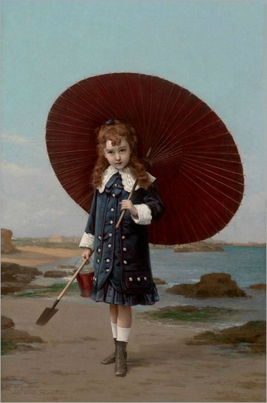 Jules Emile Saintin (French,1829-1894) - Little girl with umbrella