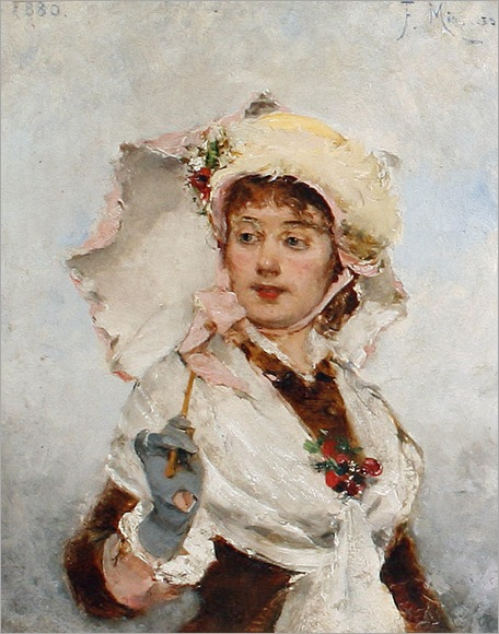 Lady with a parasol, 1880-Francisco_Miralles_Y_Gallup(Spanish, 1848-1901)