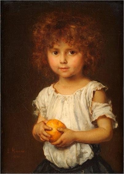 Ludwig Knaus (1829 - 1910) Kleiner Rotschopf mit Apfelsine