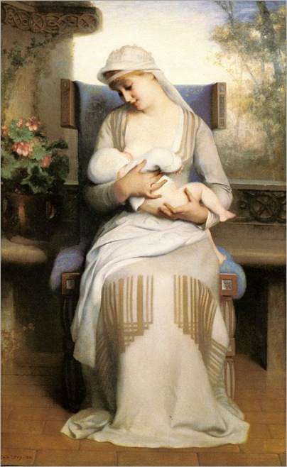 Émile Lévy - Young mother feeding her baby (1881)