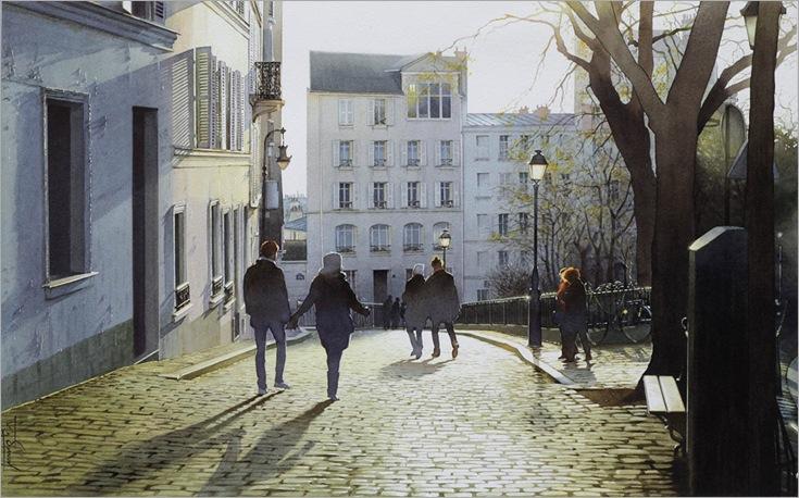 Soleil couchant sur les pavés de Montmartre -Thierry Duval