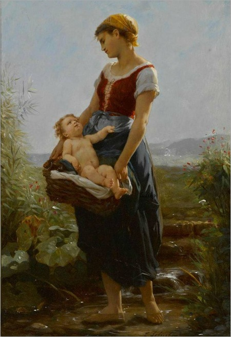 Timoléon Marie Lobrichon, French (1831-1914) - a devoted mother
