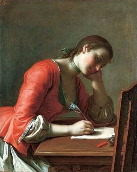 Young Girl Writing a Love Letter (c. 1755). Pietro Antonio Rotari (Italian, 1707-1762)