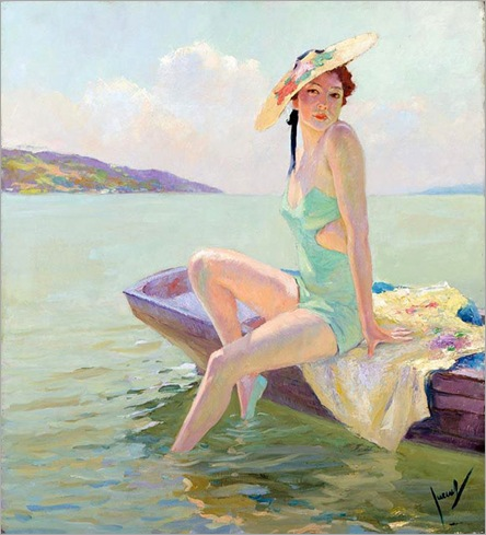 1 Edward Cucuel (american-1875-1954)_ Green Dressed