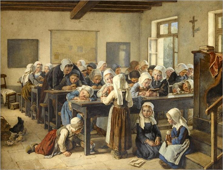 a-breton-infants-school-by-Jean-Baptiste-Jules-Trayer