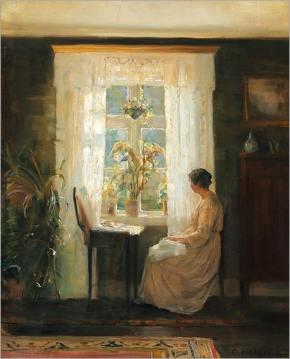 A Woman at a Sunny Window-Carl Vilhelm Holsoe
