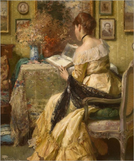 afternoon reading by FernandToussaint (belgian-1873-1955)