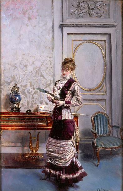 Berthe che Guarda un Ventaglio by Giovanni Boldini, 1878